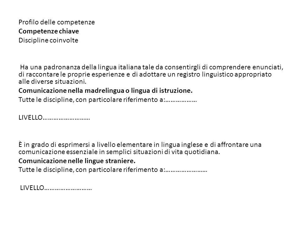 Profilo delle competenze. Competenze chiave. Discipline coinvolte.