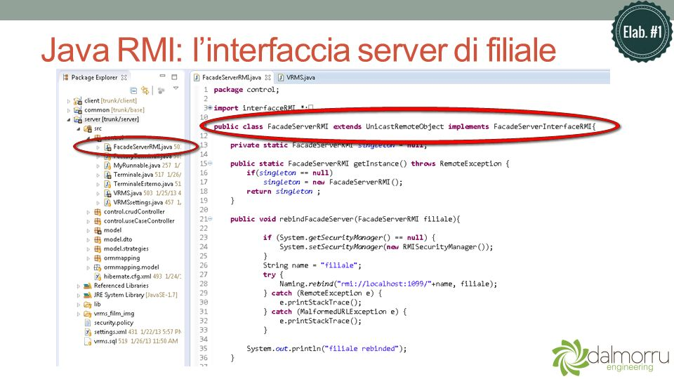Java RMI: l'interfaccia server di filiale
