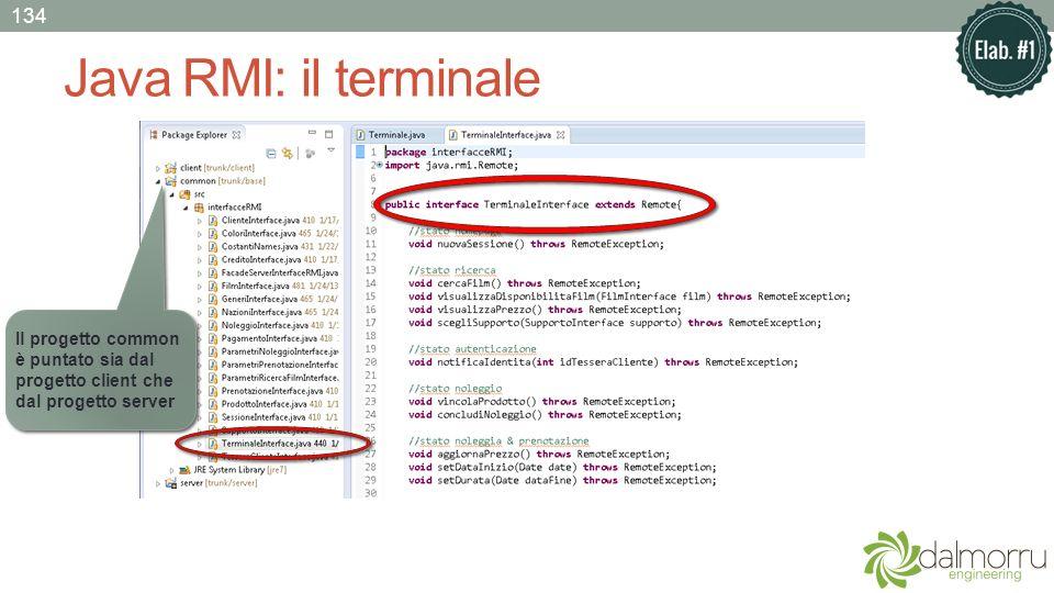Java RMI: il terminale Il progetto common è puntato sia dal progetto client che dal progetto server