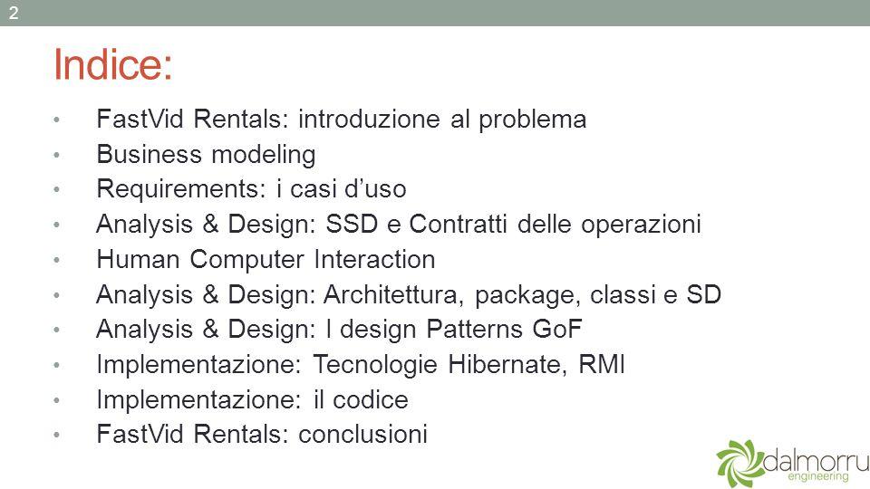 Indice: FastVid Rentals: introduzione al problema Business modeling