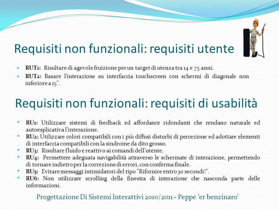Requisiti non funzionali: requisiti utente