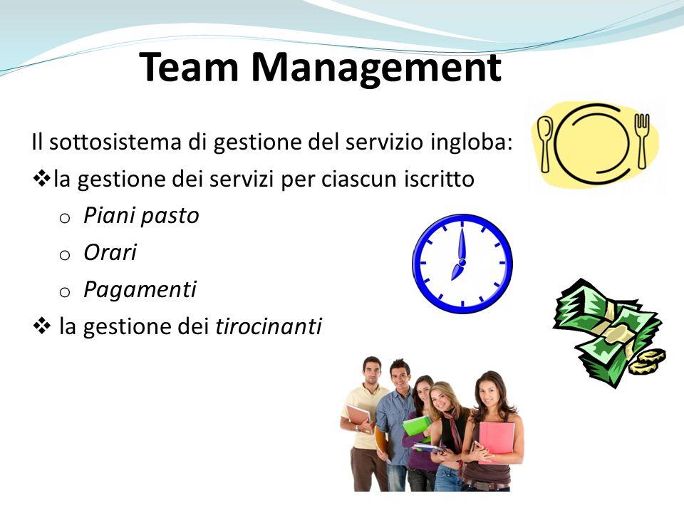 Team Management Il sottosistema di gestione del servizio ingloba: