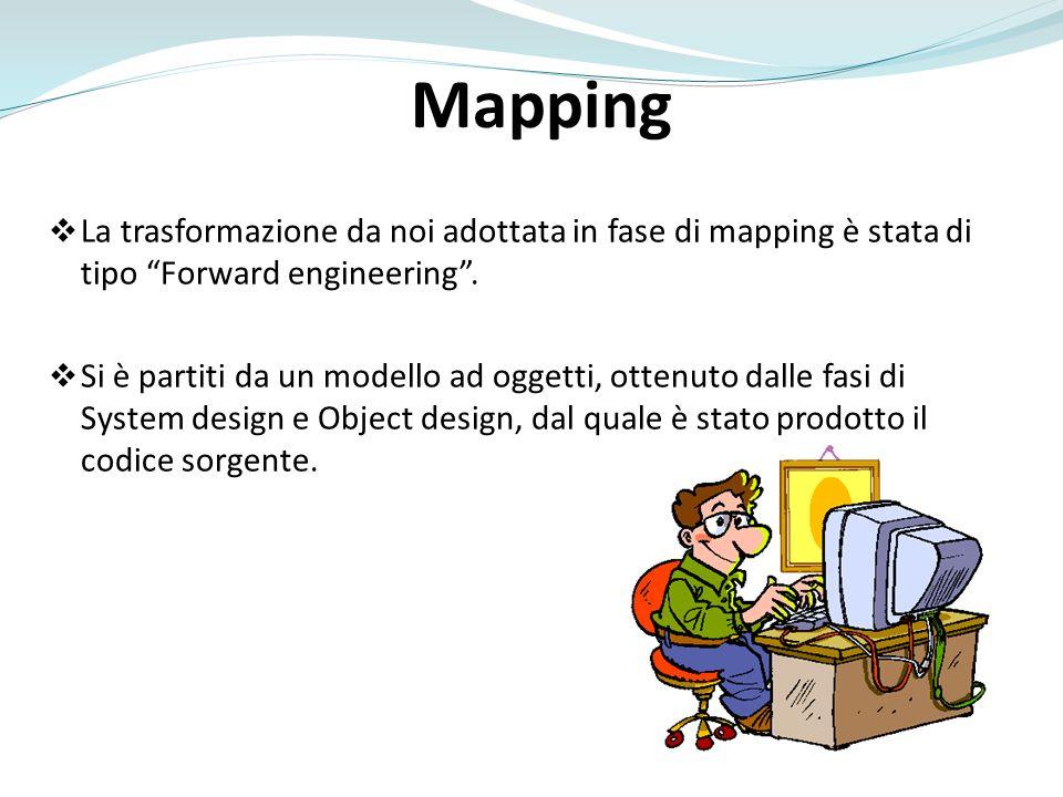 Mapping La trasformazione da noi adottata in fase di mapping è stata di tipo Forward engineering .