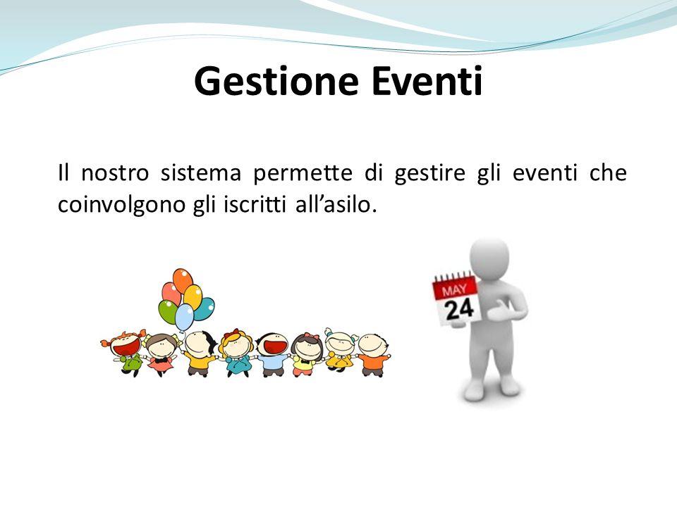 Gestione Eventi Il nostro sistema permette di gestire gli eventi che coinvolgono gli iscritti all'asilo.