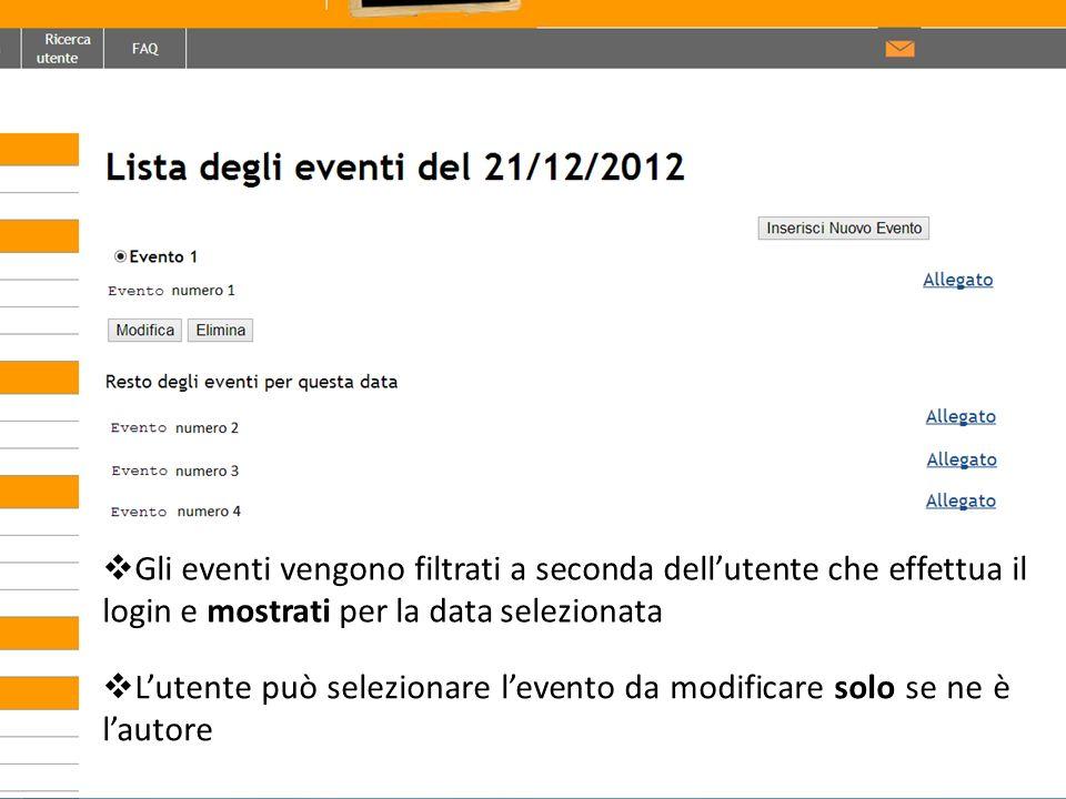 Gli eventi vengono filtrati a seconda dell'utente che effettua il login e mostrati per la data selezionata