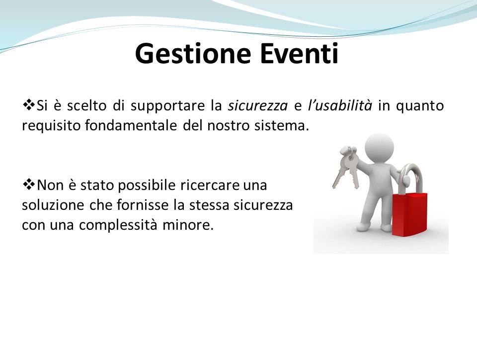 Gestione Eventi Si è scelto di supportare la sicurezza e l'usabilità in quanto requisito fondamentale del nostro sistema.
