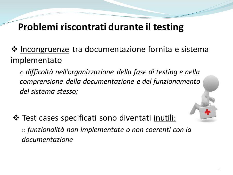 Problemi riscontrati durante il testing