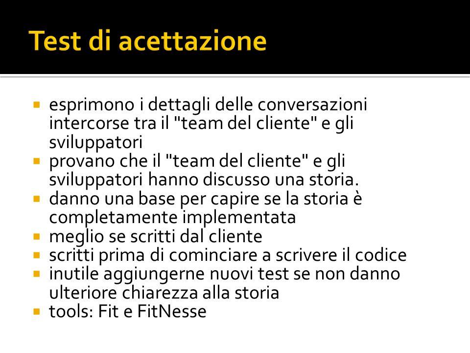 Test di acettazione esprimono i dettagli delle conversazioni intercorse tra il team del cliente e gli sviluppatori.