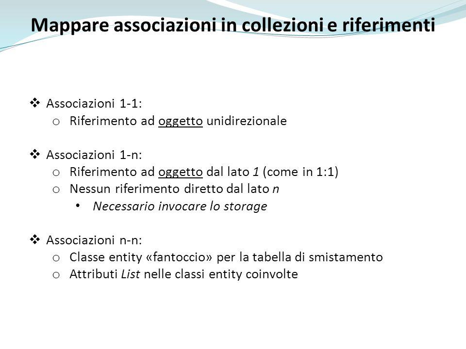 Mappare associazioni in collezioni e riferimenti
