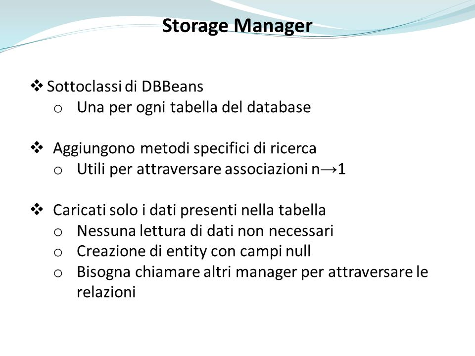 Storage Manager Sottoclassi di DBBeans