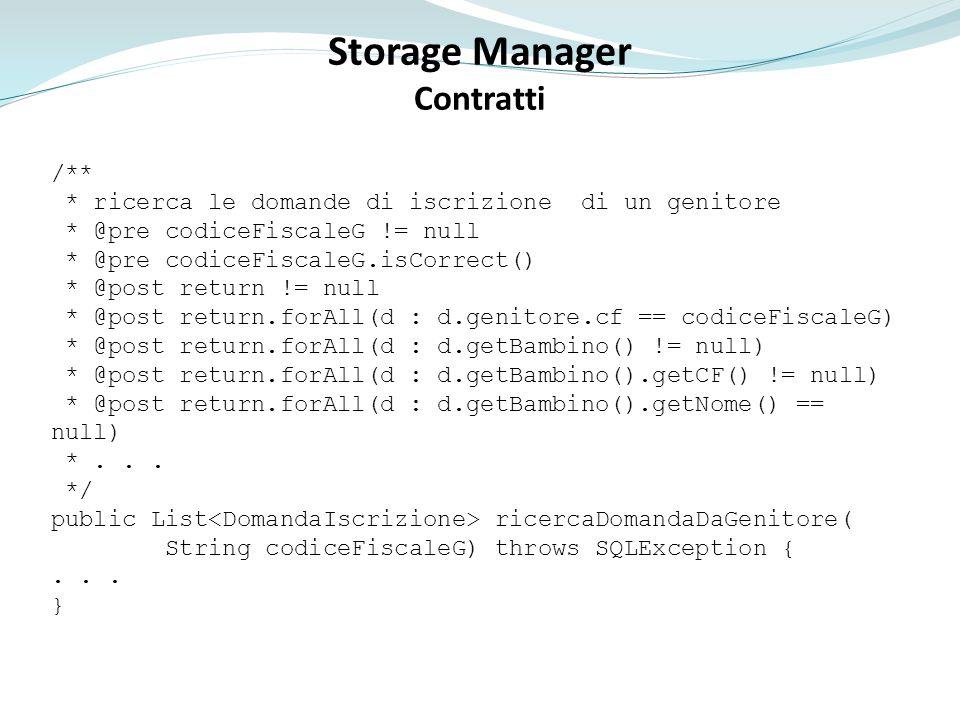Storage Manager Contratti Caricati solo i dati presenti nella tabella