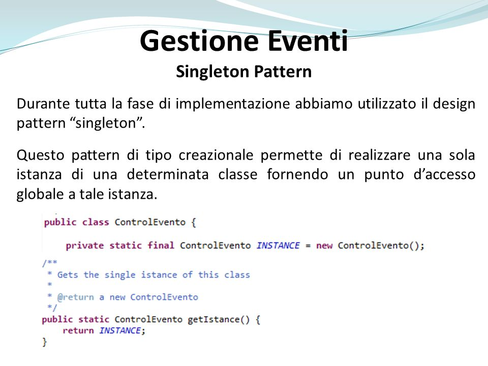 Gestione Eventi Singleton Pattern