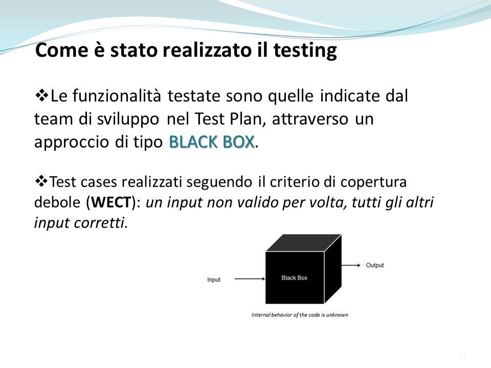 Come è stato realizzato il testing