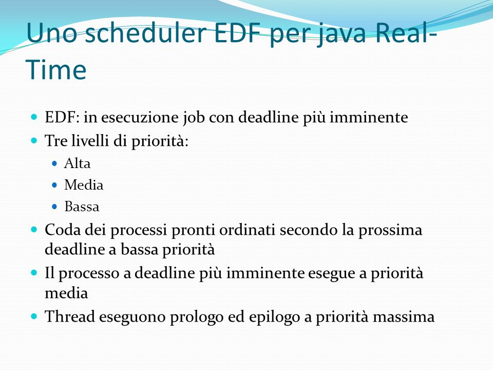 Uno scheduler EDF per java Real-Time
