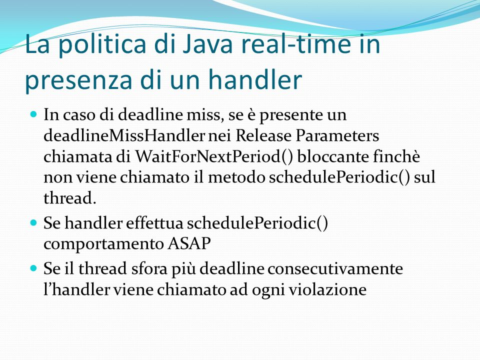 La politica di Java real-time in presenza di un handler