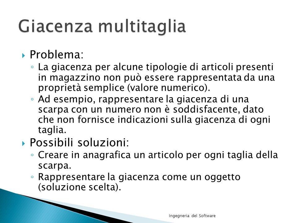 Giacenza multitaglia Problema: Possibili soluzioni: