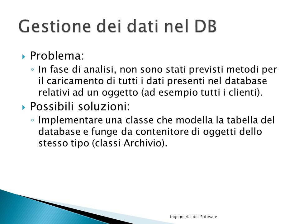 Gestione dei dati nel DB