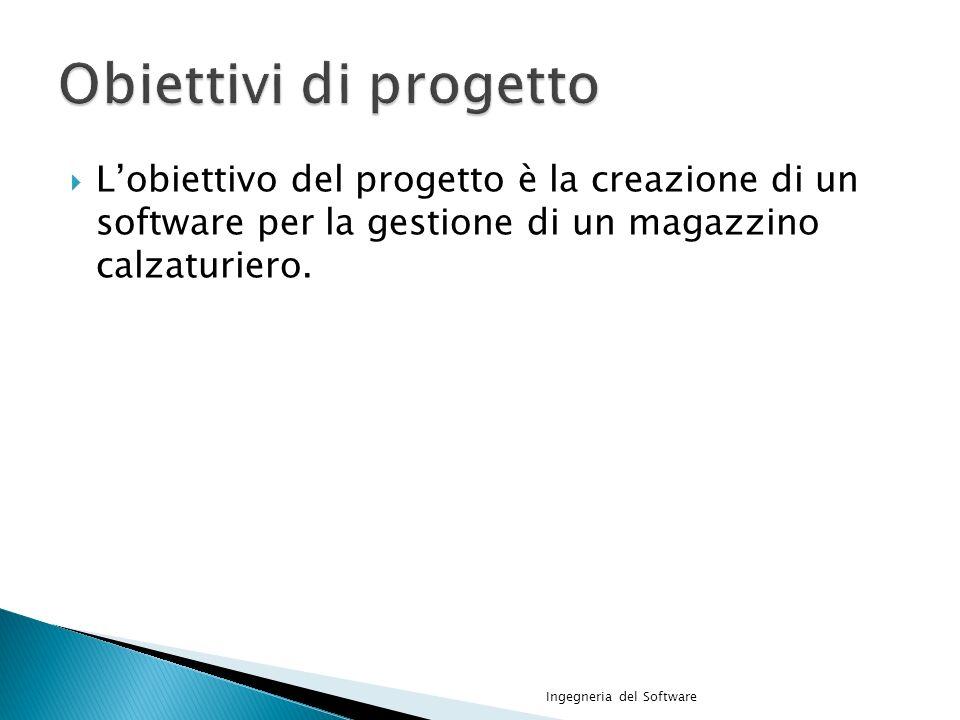 Obiettivi di progetto L'obiettivo del progetto è la creazione di un software per la gestione di un magazzino calzaturiero.