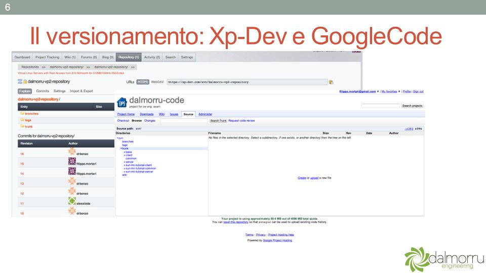 Il versionamento: Xp-Dev e GoogleCode