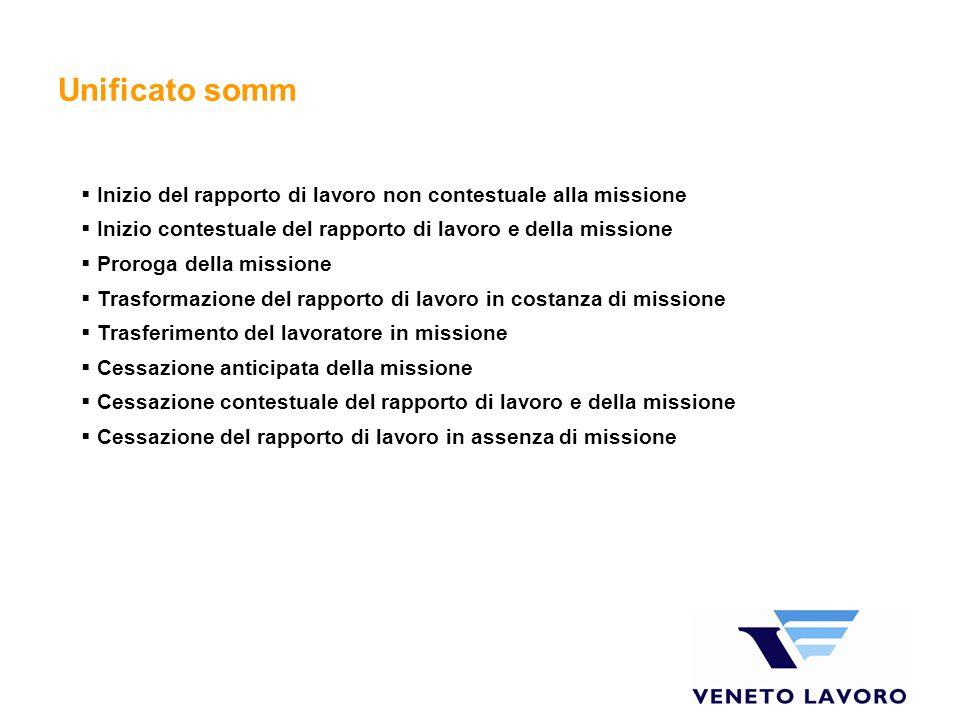Unificato somm Inizio del rapporto di lavoro non contestuale alla missione. Inizio contestuale del rapporto di lavoro e della missione.