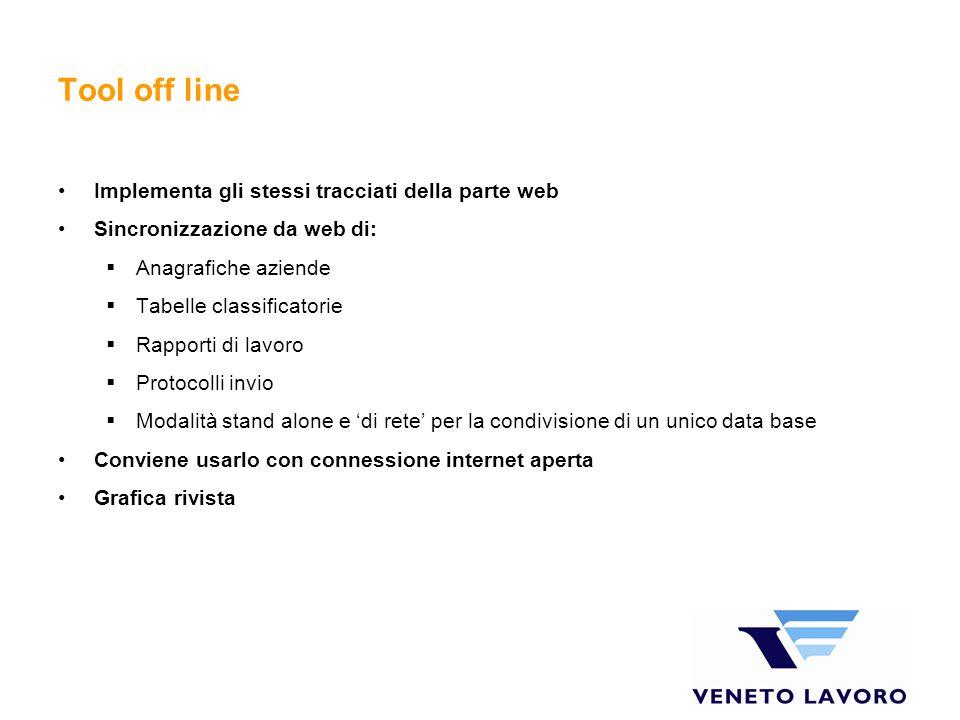 Tool off line Implementa gli stessi tracciati della parte web