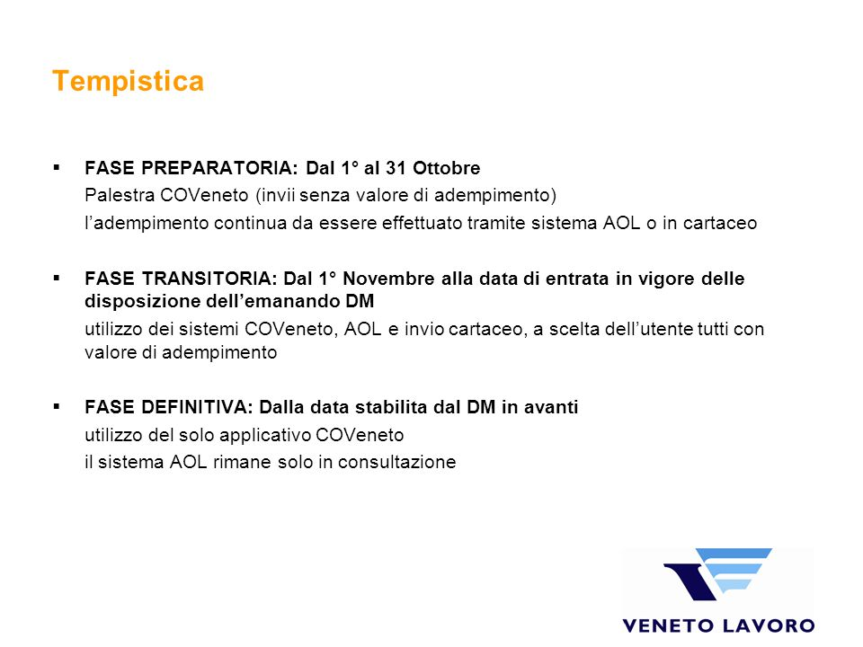 Tempistica FASE PREPARATORIA: Dal 1° al 31 Ottobre