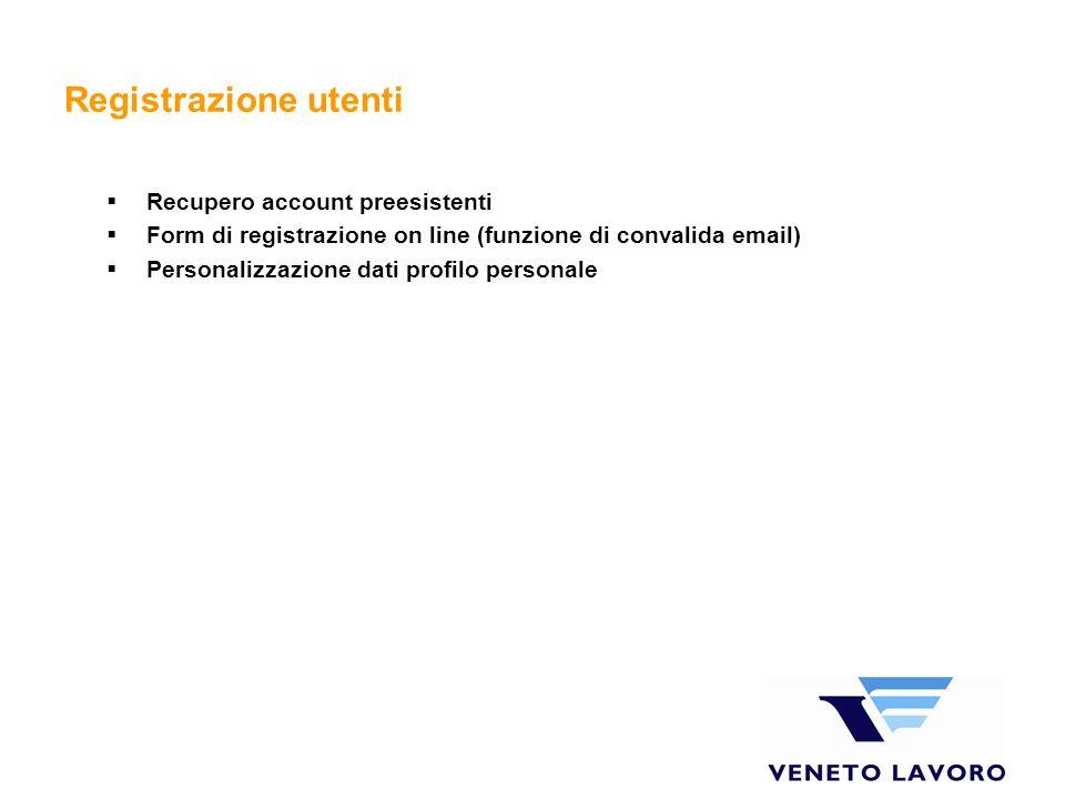 Registrazione utenti Recupero account preesistenti