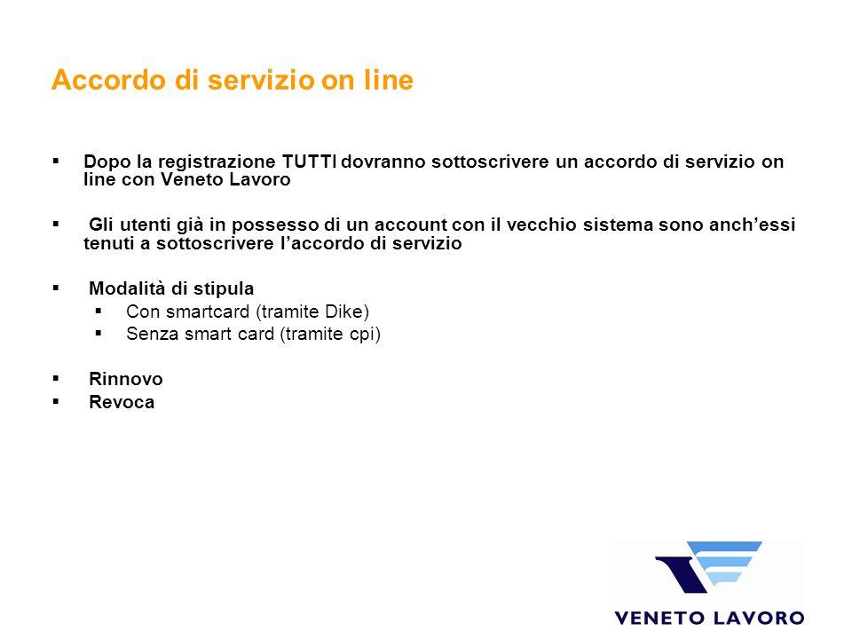 Accordo di servizio on line
