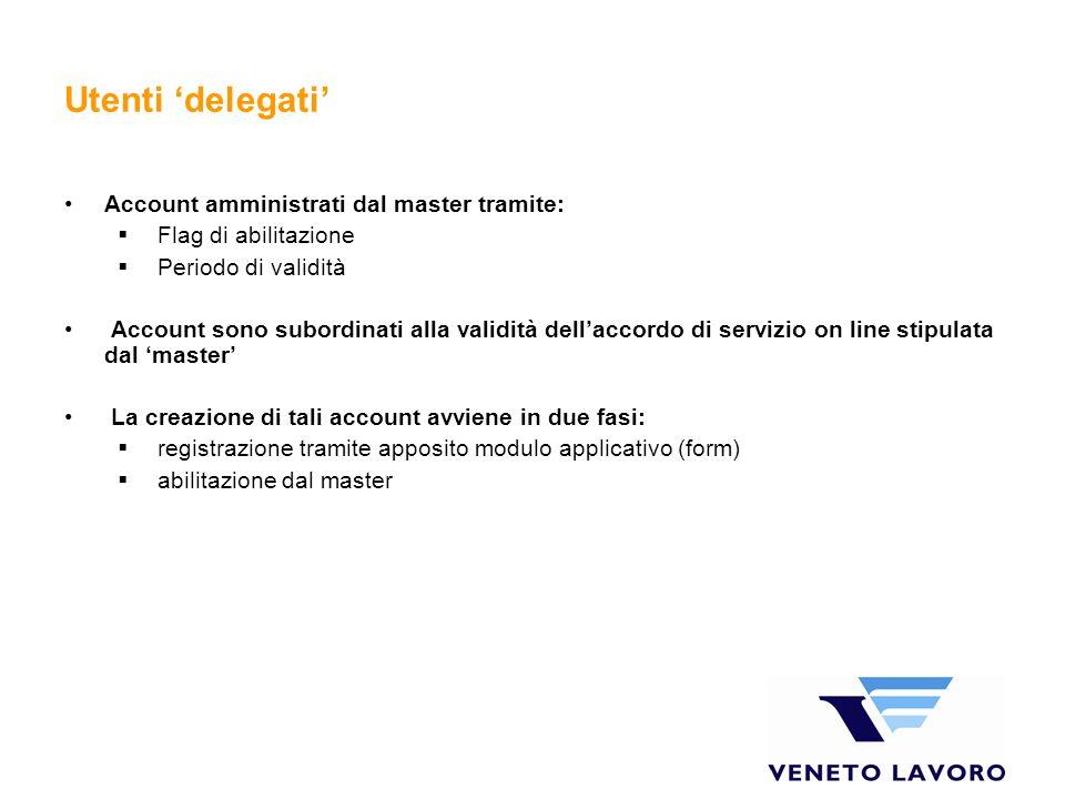 Utenti 'delegati' Account amministrati dal master tramite: