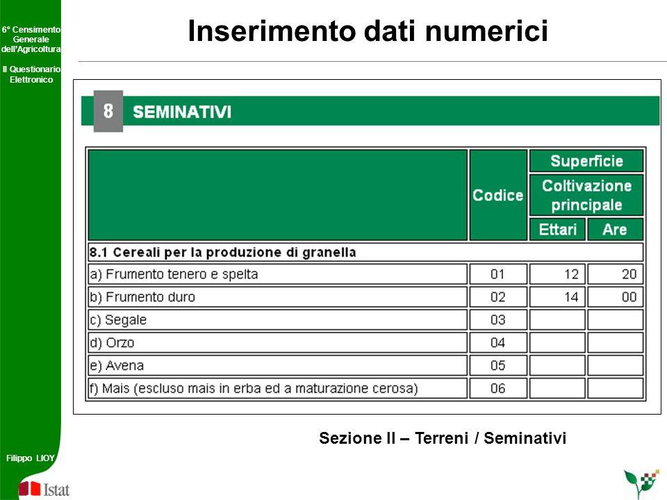 Inserimento dati numerici
