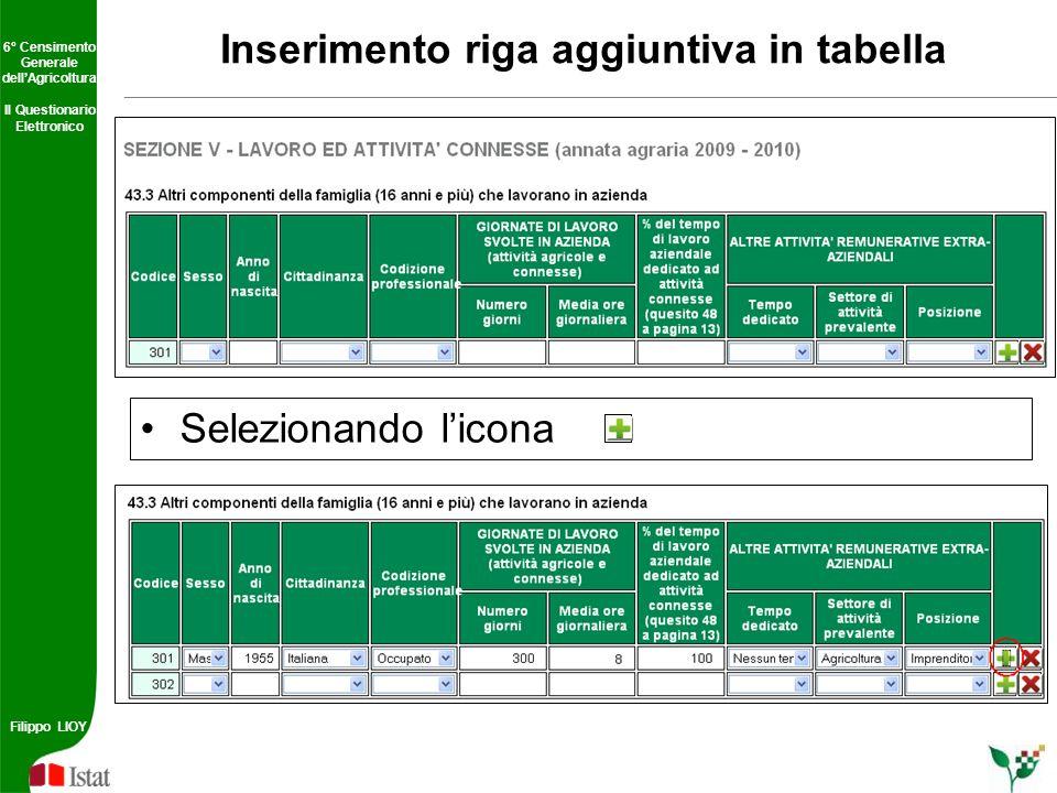 Inserimento riga aggiuntiva in tabella