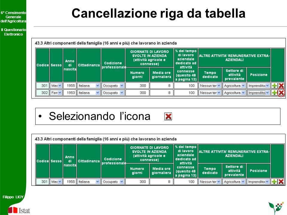Cancellazione riga da tabella