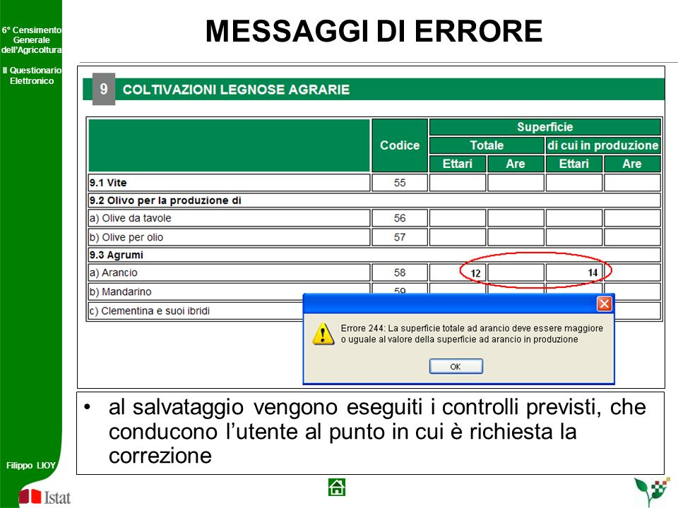 MESSAGGI DI ERRORE al salvataggio vengono eseguiti i controlli previsti, che conducono l'utente al punto in cui è richiesta la correzione.