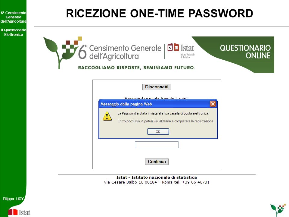 RICEZIONE ONE-TIME PASSWORD