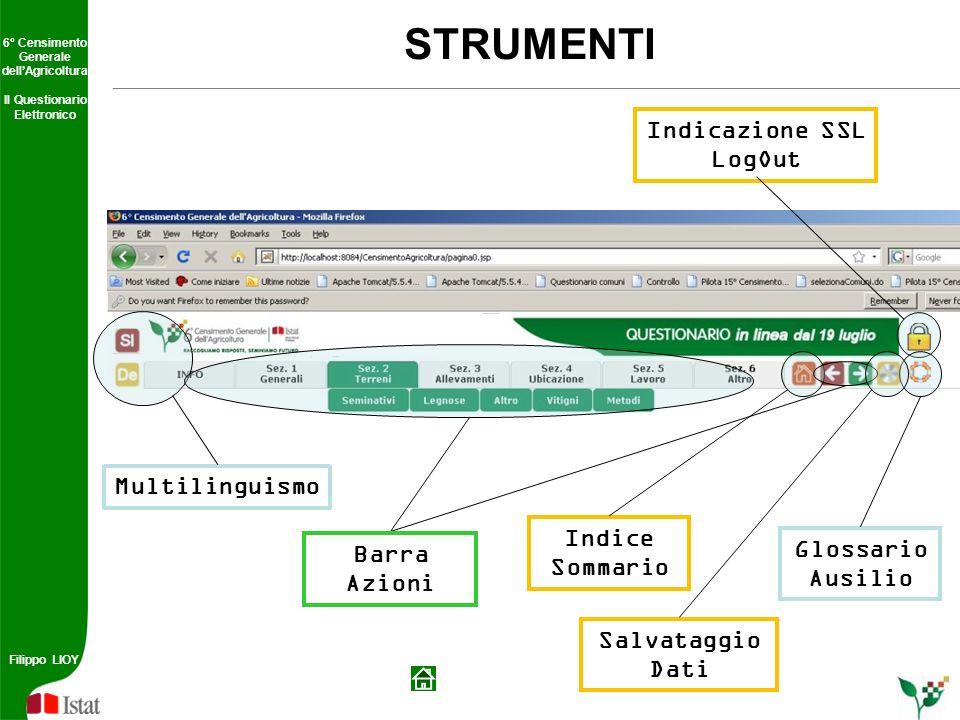 STRUMENTI Indicazione SSL LogOut Multilinguismo Indice Glossario