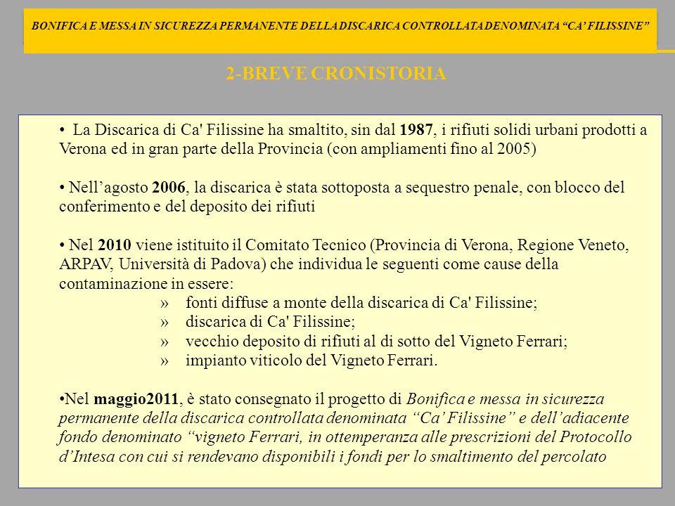 BONIFICA E MESSA IN SICUREZZA PERMANENTE DELLA DISCARICA CONTROLLATA DENOMINATA CA' FILISSINE