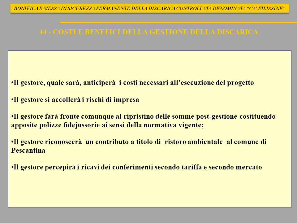 44 - COSTI E BENEFICI DELLA GESTIONE DELLA DISCARICA