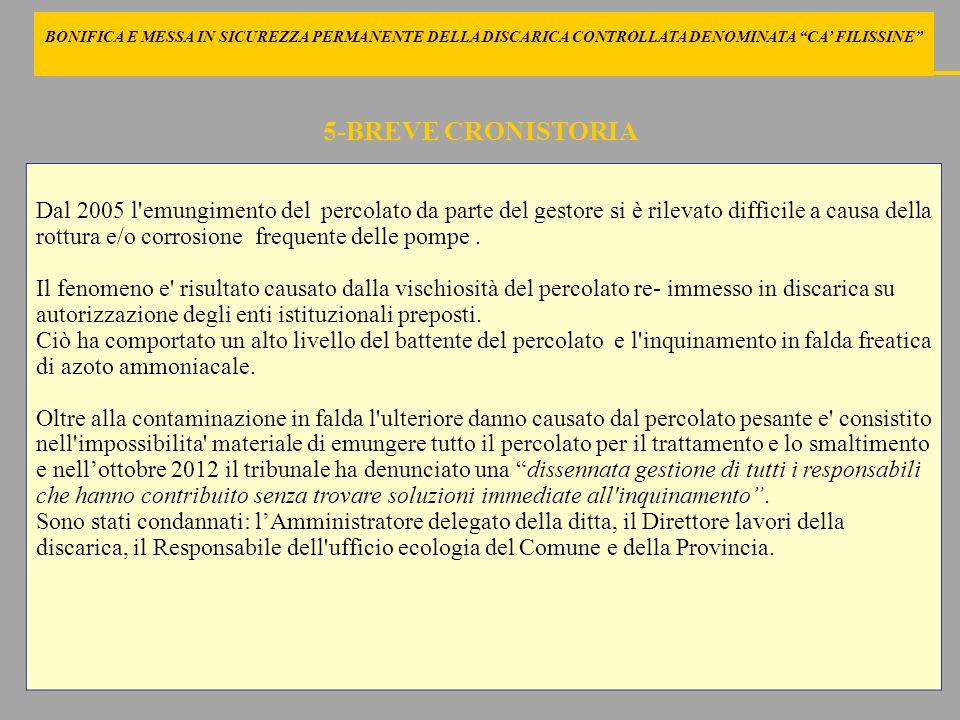 5 BONIFICA E MESSA IN SICUREZZA PERMANENTE DELLA DISCARICA CONTROLLATA DENOMINATA CA' FILISSINE 5-BREVE CRONISTORIA.