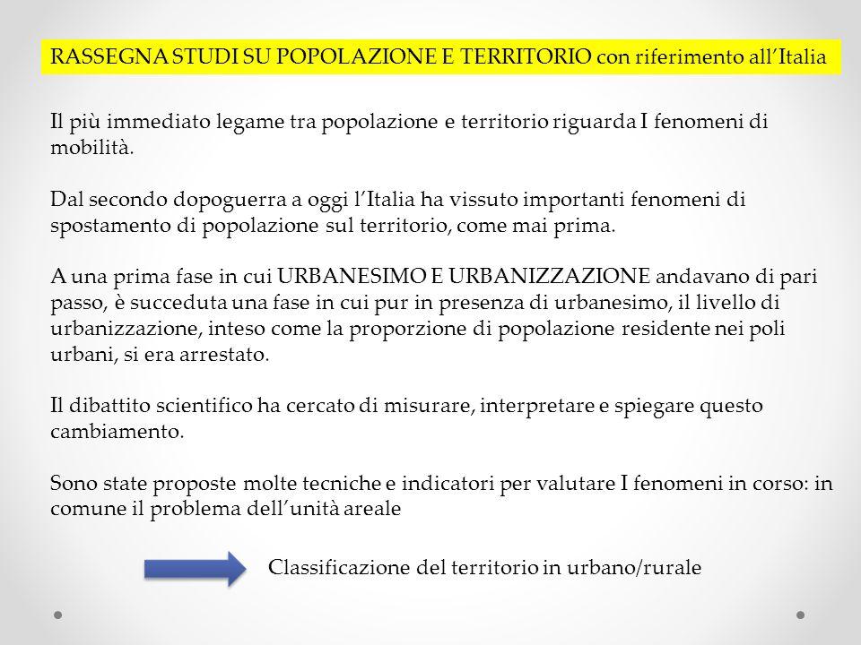RASSEGNA STUDI SU POPOLAZIONE E TERRITORIO con riferimento all'Italia