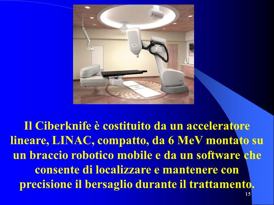 Il Ciberknife è costituito da un acceleratore lineare, LINAC, compatto, da 6 MeV montato su un braccio robotico mobile e da un software che consente di localizzare e mantenere con precisione il bersaglio durante il trattamento.