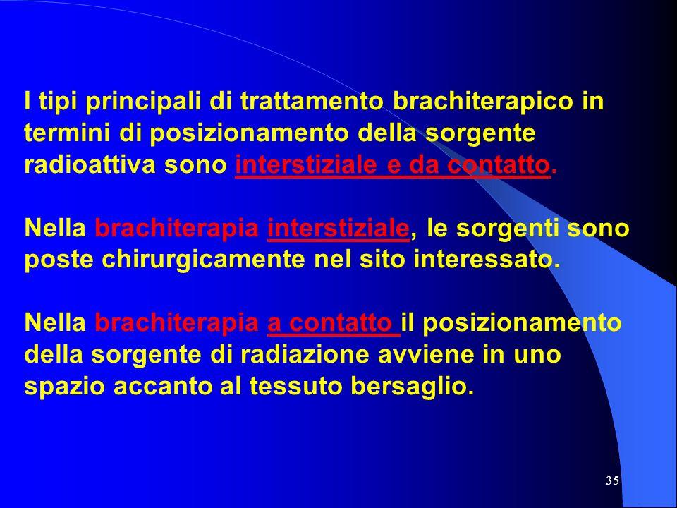 I tipi principali di trattamento brachiterapico in termini di posizionamento della sorgente radioattiva sono interstiziale e da contatto.