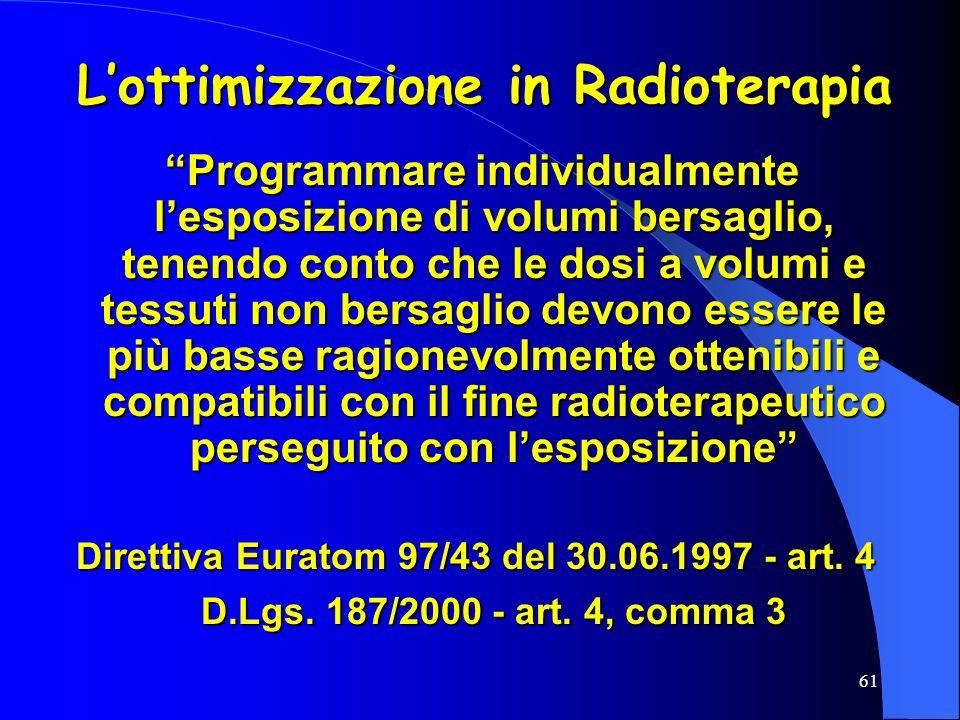 L'ottimizzazione in Radioterapia