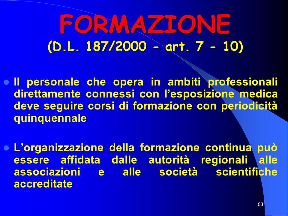 FORMAZIONE (D.L. 187/2000 - art. 7 - 10)