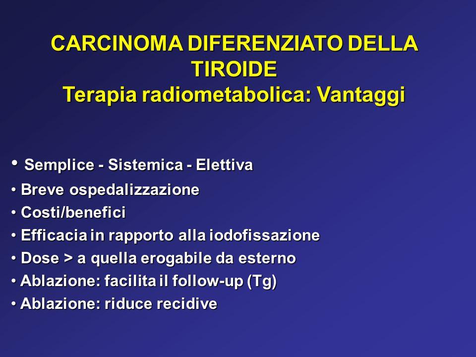 CARCINOMA DIFERENZIATO DELLA TIROIDE Terapia radiometabolica: Vantaggi