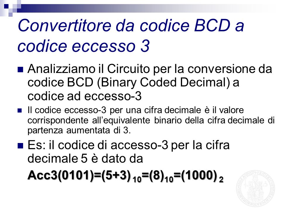 Convertitore da codice BCD a codice eccesso 3