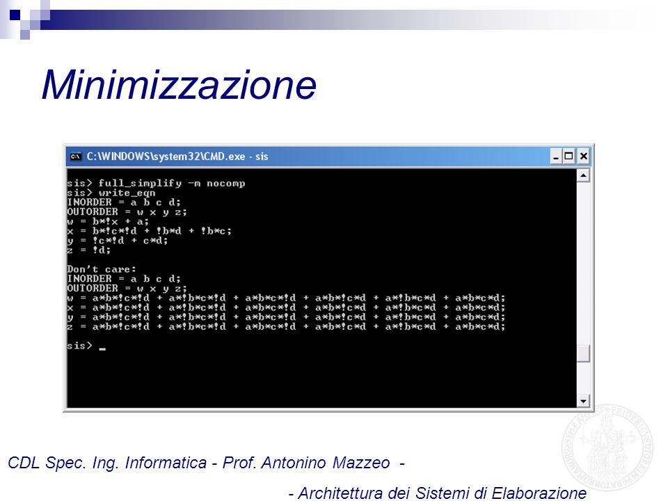 Minimizzazione CDL Spec. Ing. Informatica - Prof. Antonino Mazzeo -