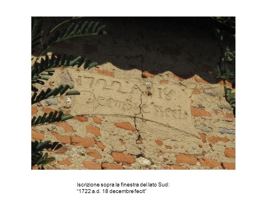 Iscrizione sopra la finestra del lato Sud: