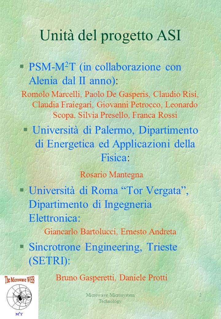 Unità del progetto ASI PSM-M2T (in collaborazione con Alenia dal II anno):