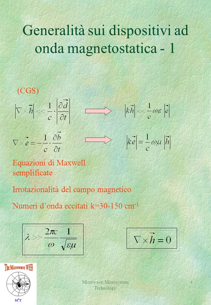 Generalità sui dispositivi ad onda magnetostatica - 1