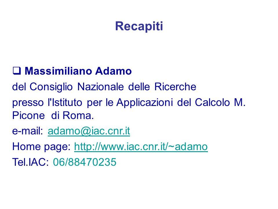Recapiti Massimiliano Adamo del Consiglio Nazionale delle Ricerche